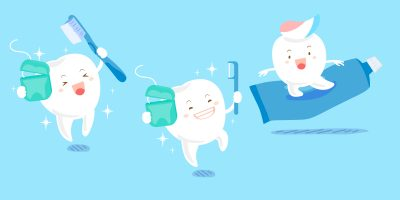 cute cartoon tooth play with floos and toothpaste-img-blog